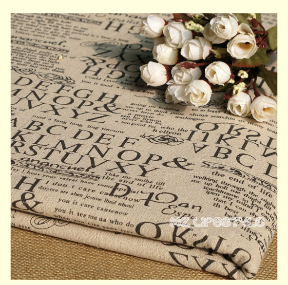 Buulqo 100*140cm width retro upholstery printed enligh letters cotton linen fabric by meter  DIY  home decor fabric hemp fabric 3
