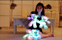 Magic Plush Stuffed Light-up Bear Toy With LED Light Inside Shinning In The Night With Power Switch Battery Excluded 32cm Tall(China)