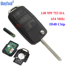 OkeyTech 3 Button 434 MHZ Car Remote Control Completed Flip Key Fob Blank Blade With ID48 Chip For VW /SKODA SEAT 1JO 959 753 DA