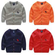 New Cotton kids Cardigan Boys Girls Children's Knit Cardigan 5 colors 3-8years(China)