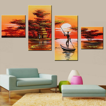 African Women Painting Hand Painted Abstract African Landscape Painting Set 4 Panel Wall Art Artwork Acrylic Canvas Pictures