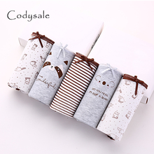Codysale 5Pcs/lot Sexy Cotton Women's Panties Printed Briefs Lovely Girls Underwear Wholesale Multicolor Lingerie Intimates