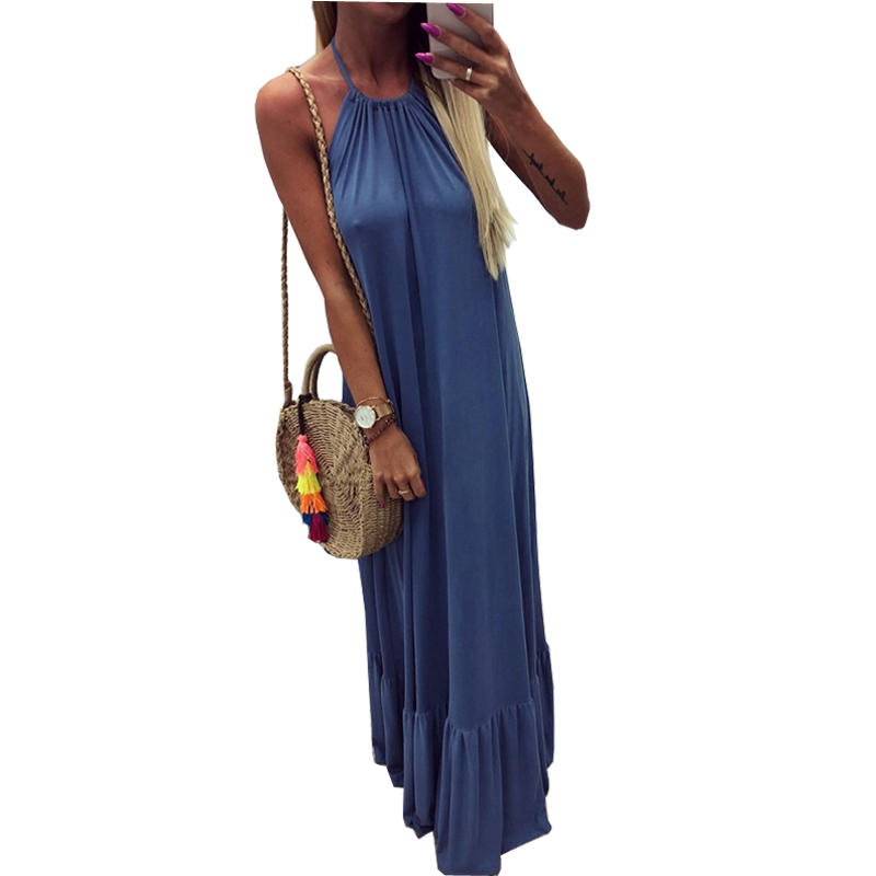 Women Sexy Backless Party Club Maxi Dress Halter Beach Dresses Solid Color Ruffles Long Dresses Feamale