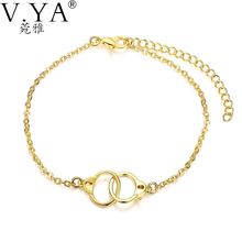 V.Ya New Fashion Charm Bracelets High Quality Yellow Gold Color Bracelets 8 inch Link Chain Bracelets for Women Men Jewelry KB03