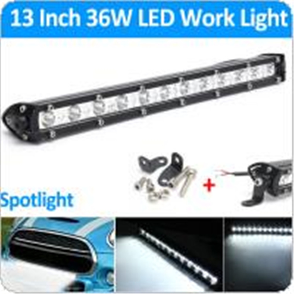 13 Inch 6000K White Waterproof LED Spot Combo Lamp Driving Offroad Work Light Bar 16200 LM 36W<br><br>Aliexpress