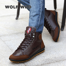 WOLF 누가 Free Shipping 새 2018 Men 가죽 Boots Fashion Winter Warm 면 Brand Ankle Boots Lace Up 남성 Shoes 신발쏙 ~ W-067(China)