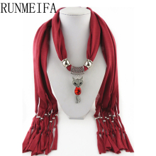 [RUNMEIFA]  Brand Unique Design Trendy Solid Cute Enamel Fox Animal Pendant Winter Warm Long Tassel Polyester Scarves