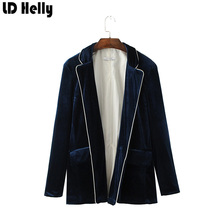 Buy LD Helly Autumn Women Velvet Blazers Jacket Fashion Pockets Notched Full Sleeve Casual Loose Female Coat Tops Casaco Feminine for $24.68 in AliExpress store