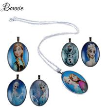 Anna Elsa Pendant Necklaces For Kids Baby Child Girls Jewelry Cosplay Characte Christmas Gift For Girls Joyas Silver Plated