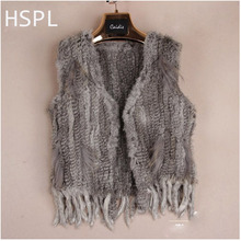 HSPL Europe Popular Genuine Rabbit Knitted Fur Gilet Women Sleeveless Fur vest with Tassel without Collar Vest Colete De Pele