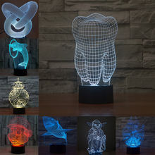 Illusion Dolphin Shark Tooth 3D LED Night Light Acrylic Colorful Kids Baby Bedroom USB Table Lamp Gift For Birthday Christmas