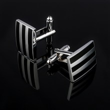 Classic Silver Plated Black Enamel Copper Men's Cufflink Luxury gift Party Wedding Suit Shirt Buttons Stripe Cufflinks(China)