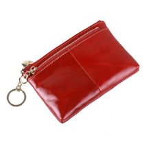 Mini carteira Genuine Crazy Horse Leather Women Wallet With Keychain Holder Purse Heart Zipper Coin Pocket Tassel Clutch Wallets(China)