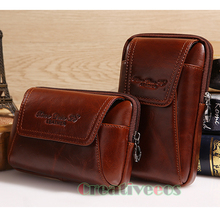 2017 New Men Oil Wax Genuine Leather Vintage Travel Cell Mobile Phone Case Cover Belt Pouch Purse Fanny Pack Waist Bag