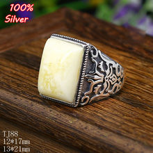 100% sterling silver 925 jewelry 12*17/13*21mm Adjustable Ring Tray Setting Square Stone Antique Silver Classical(China)