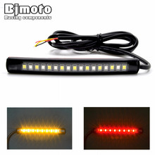 BJMOTO Universal LED Car Motorcycle Tail Brake Lights Turn Signal Light Strip 17 Leds License Plate Light Flashing Stop Lights(China)
