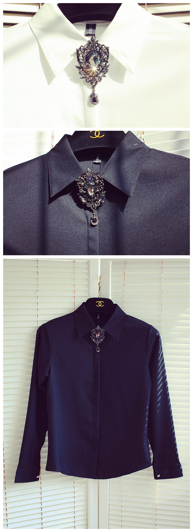 2017 New Arrival Special Offer Cotton Women Blouses Body Woman Shirt Retro Diamond Rhinestone Gemstone Collar Sleeve Female