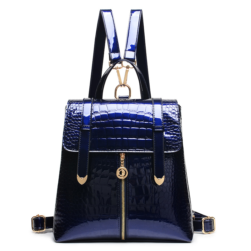 2017 New Arrival Fashion Backpack Women Crocodile Patent Leather Backpacks Teenage Girls Single Shoulder Bag Lady Alligator <br>