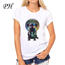 PH New arrival Fashion women Music Pug Disco Dog Print tshirt Cute Animal Design t shirt american apparel camisetas