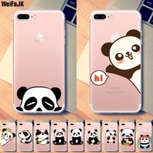 2017 Panda Pattern Dust Plug Clear Soft Cases for Apple Iphone 7 7Plus 6 6s 6Plus 5 5s SE Shell Silicon Back Cover Phone Bags