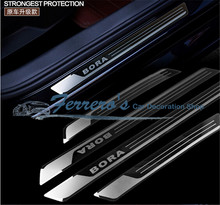 Free shipping 4pcs/lot Slim Door Sill Scuff Plates car stickers car styling FOR 2013 2014 2015 2016 Volkswagen VW BORA