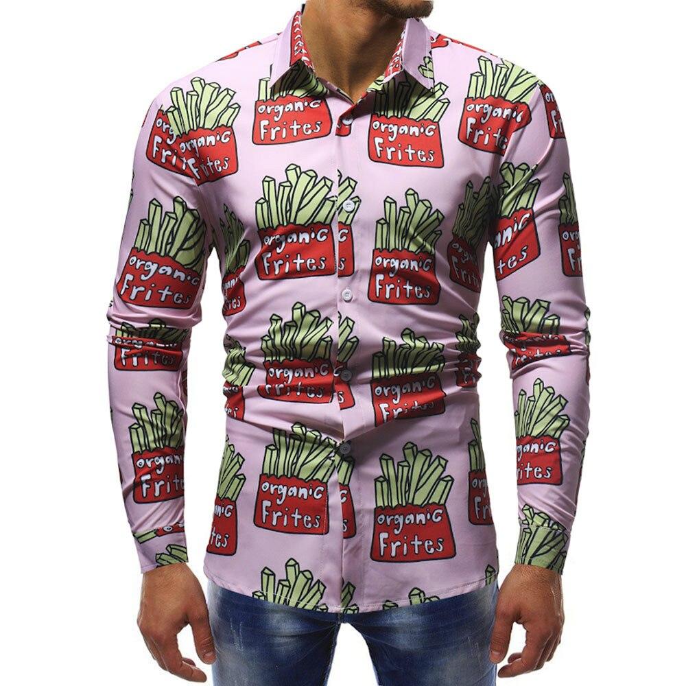 Gnao Men Long Sleeve Button Down 3D Printed Lapel Stylish Shirts