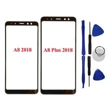 13f1e8cb3c Para Samsung A8 Plus 2018 Preto Frente Outer Lente de Vidro Painel Touch  Screen Reparação Parte Substituição A530F A730F