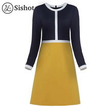 Sishot women vintage dresses 2017 autumn winter yellow patchwork long sleeve o neck knee length a line elegant fall retro dress(China)