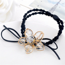Womens Elastic Rubber Band Headwear Diamond Hair Accessory Fasion Lady Girl Pearl Wire Flower Ponytail Holder Scrunchy Hair Rope(China)