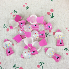 Buy 10Pieces Flat Back Resin Cabochon Kawaii Pink Bubble Gumball Machine DIY Flatback Embellishment Accessories Scrapbooking:18*30mm for $2.08 in AliExpress store