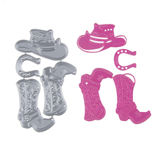 Set of Cowboy Hat Boots Template Metal Cutting Die Stencil DIY Scrapbook Embossing Album Paper Card Craft Folder Decorative