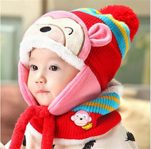 Winter Animal Monkey Hat + Scarf For Children Kids Aviator Warm Cap Baby Earflaps Fleece Inner Crochet Knitted Boy Girl Beanies