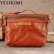YESIKIMI Women's Genuine Leather Bag Real Cow Skin Doctor Bags Small Shoulder Bags Vintage Box Shape Bolsos Good Quality(China)