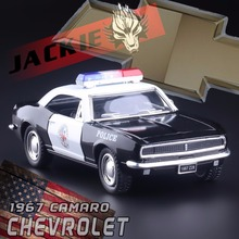 Brand New KINGSMART 1/36 Scale USA 1967 Chevrolet Camaro Z-28 Police Version Diecast Metal Pull Back Car Model Toy For Gift