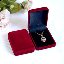 High Quality 12pcs Dark Red Color Square Velvet Box For Pendant & Necklace Jewelry Gift Boxes Packaging