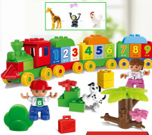 with gift HM136 Big Blocks Number Train Building Set Compatible with Legoed Duploe Educational Toys DIY Baby Toys