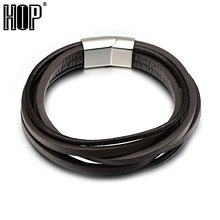 HIP Rock Genuine Leather Cowhide Wrap Surf Fashion Charm Braclet with Delicate Clasp Bangles for Men Jewelry