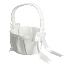 Ivory Bow Wedding Basket Ceremony Decoration Party Love Case Satin Flower Girl Basket DIY Home Decoration Storage Bag Container