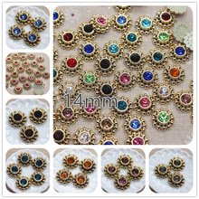 50pcs 14mm mix color shiny rhinestones round flower Buttons Home Garden Crafts Cabochon Scrapbooking DIY Accessories
