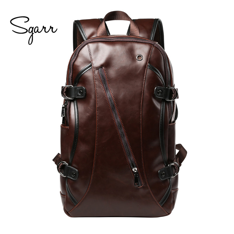 Casual Crazy Horse PU Leather Mens Backpack College School Bags 14 inch Laptop Bag Large Capacity Travel Bag For Busniess<br>