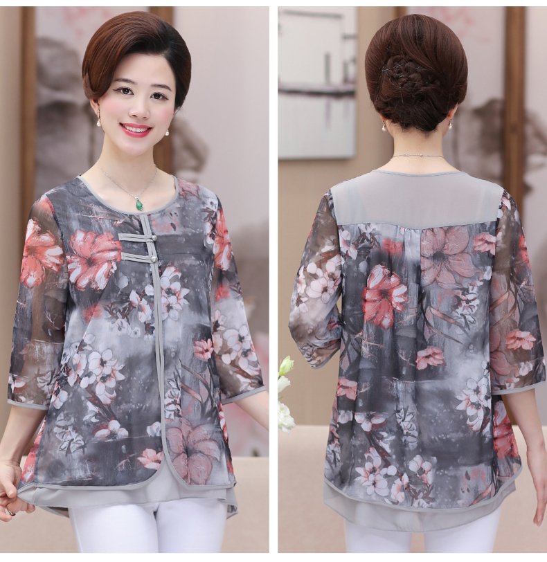 WAEOLSA Chinese Style Woman Ethnical Chiffon Blouses Gray Blue Red Green Flower Layered Tops Women Oriental Boon Design Blouse Lady Crepe Tunic (16)