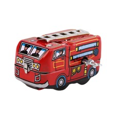 Vehicle Toys Retro Classic Toys High Quality Firefighter Fire Engine Truck Clockwork Windup Superb Tin toy Fire Truck Hot Sale(China)