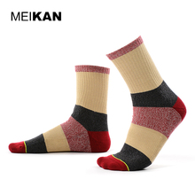 Buy MEIKAN Men Terry Stripe Socks Cycling Winter Warm Funny Cotton Socks Harajuku Floor Outdoor Bike Compression Socks High for $8.99 in AliExpress store