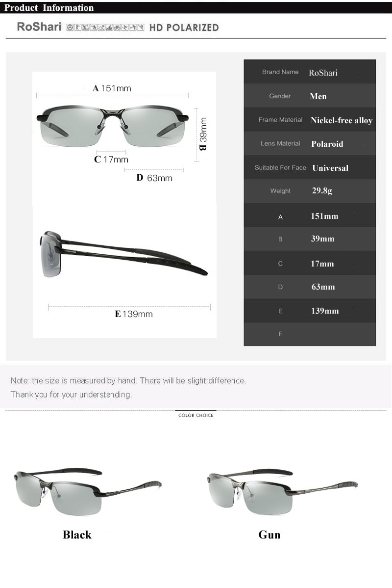 RoShari New photochromic Sunglasses men top quality All-weather Discoloration Professional driving Sun glasses men oculos D3043 6