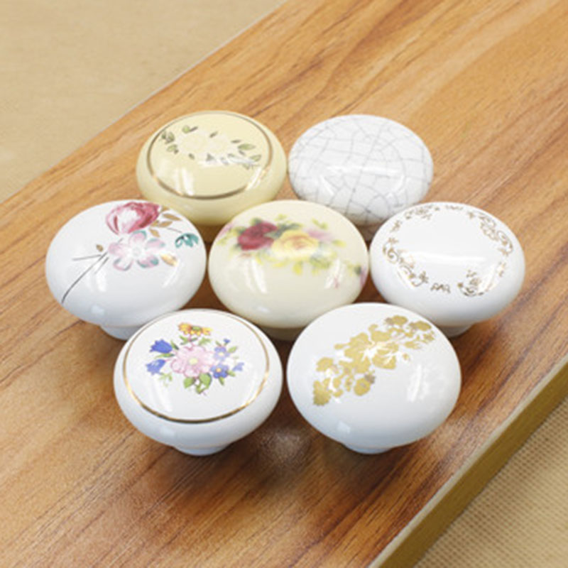 2016New 10Pcs Carving White Round Kitchen Handles Pull Drawer Ceramic Door Knobs CH31<br><br>Aliexpress