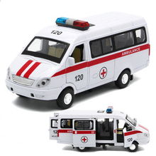 1:32 Scale Diecast Russian Ambulance GAZ Gazel Model Metal Car Toys With Pull Back For Kids Birthday Gifts Free Shipping(China)