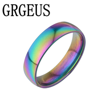 Charming Colorful Titanium Steel Finger Rings Romantic Engagement Wedding Promise Rings Width 6mm for Women Men(China)