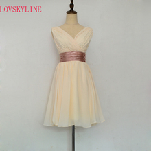 Robe De Roiree Double Shoulder Simple Solid Color Pleat Chiffon short Evening Dresses Mother Of The Bride Dress(China)