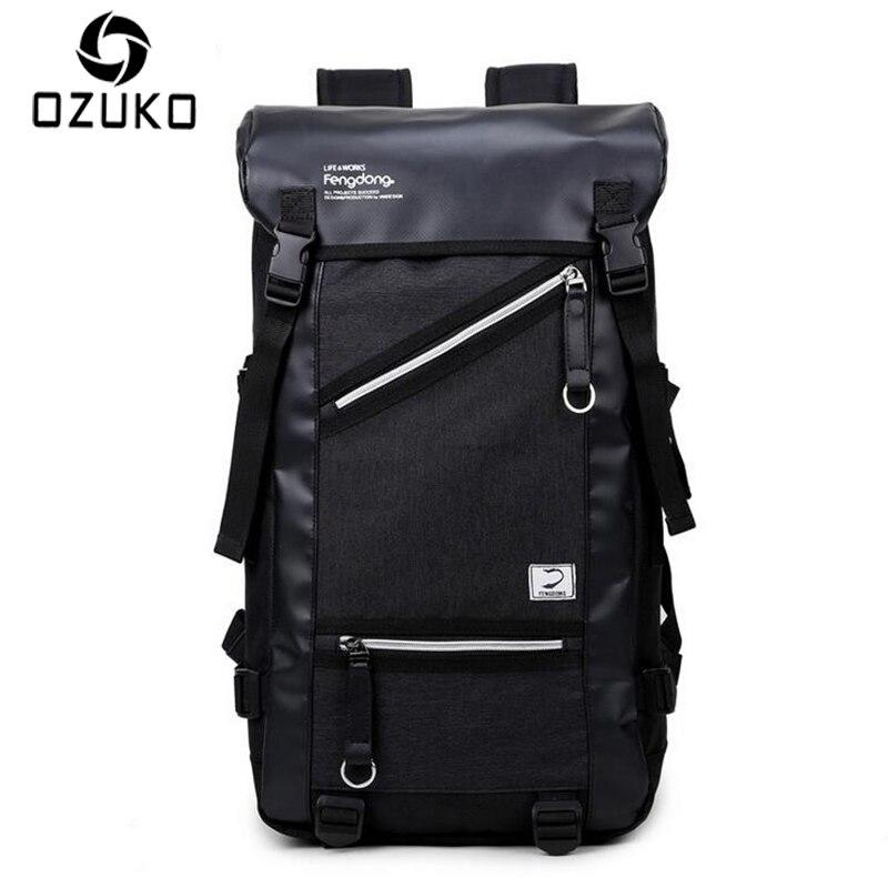 OZUKO 2017 Men Fashion Backpack Casual Travel Large Capacity Backpacks High Quality Waterproof Korean Style Teenagers SchoolBag<br>