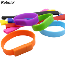 Reboto pen drive 4GB 8GB USB flash drive color silicone bracelet USB Stick 16/32/64GB Memory stick wristband U disk(China)